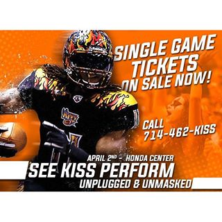 #LAKISSFOOTBALL single game tickets are now on sale, while @kissonline is set to perform live at halftime during the season opener! Click below for more information! #WEAREONE  Visit lakissfootball.com for full details!