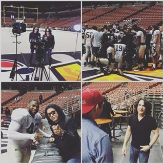 Wow what a great time a today's intrasquad scrimmage! @genesimmons and @paulstanleylive can't wait to see all of you at the home opener on April 2nd! #LAKISSFOOTBALL #WEAREONE